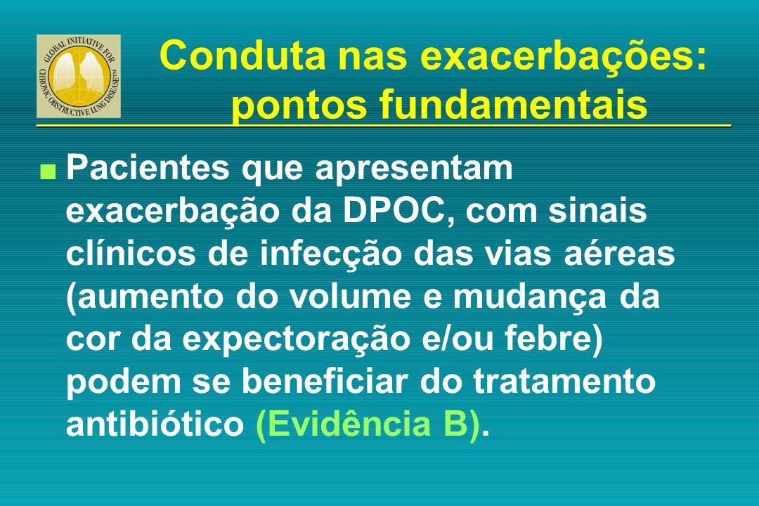 n Pacientes que apresentam exacerbação da DPOC, com sinais clínicos de infecção das vias aéreas (aumento do volume e mudança da cor da expectoração e/