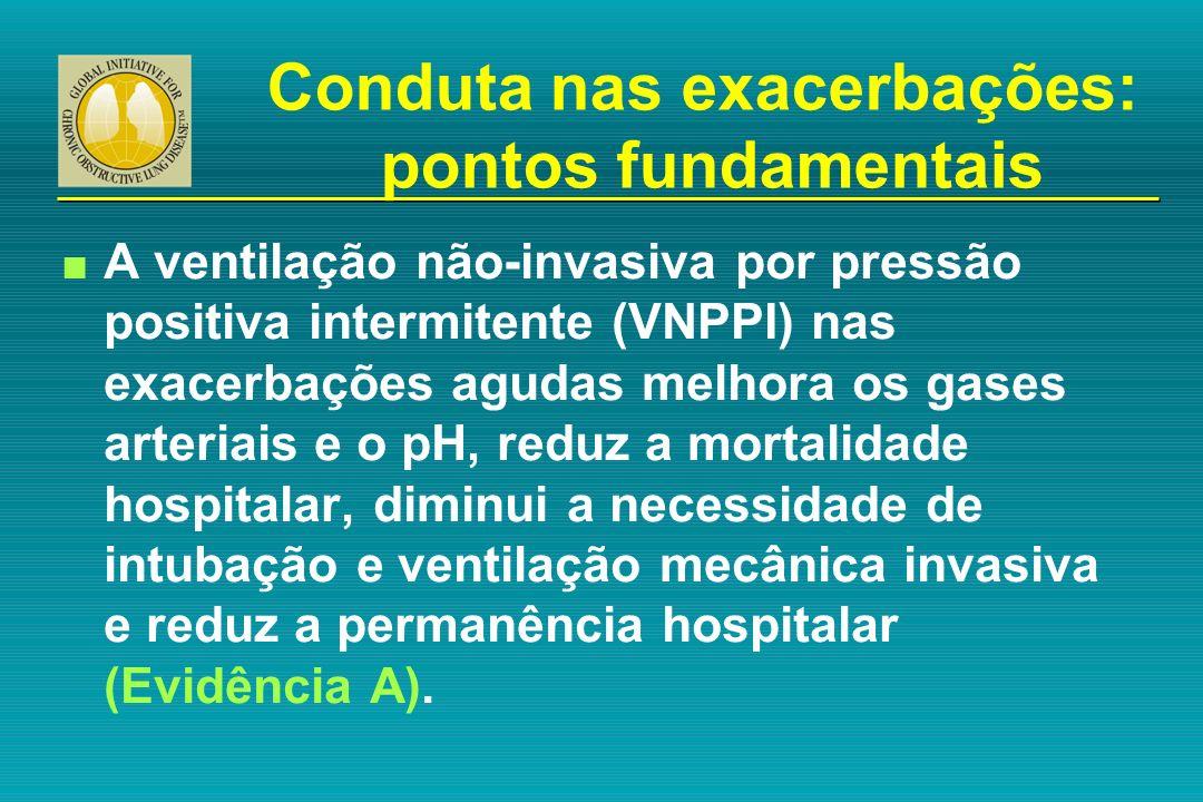 n A ventilação não-invasiva por pressão positiva intermitente (VNPPI) nas exacerbações agudas melhora os gases arteriais e o pH, reduz a mortalidade h