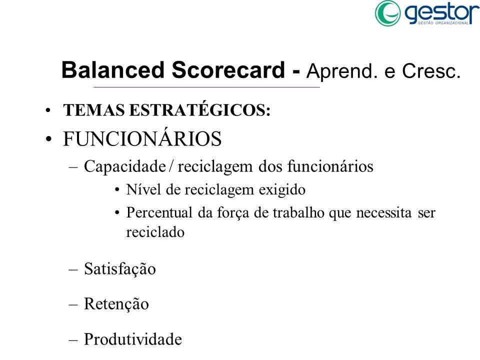 TEMAS ESTRATÉGICOS: FUNCIONÁRIOS –Capacidade / reciclagem dos funcionários –Satisfação –Retenção –Produtividade Balanced Scorecard - Aprend. e Cresc.