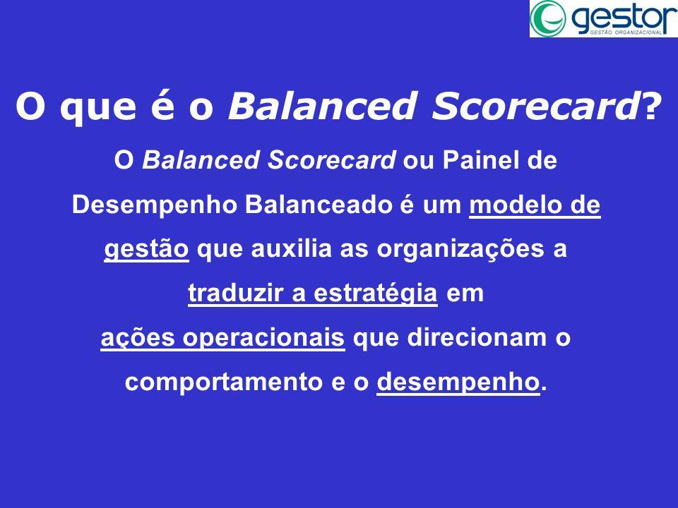 O que é o Balanced Scorecard? O Balanced Scorecard ou Painel de Desempenho Balanceado é um modelo de gestão que auxilia as organizações a traduzir a e