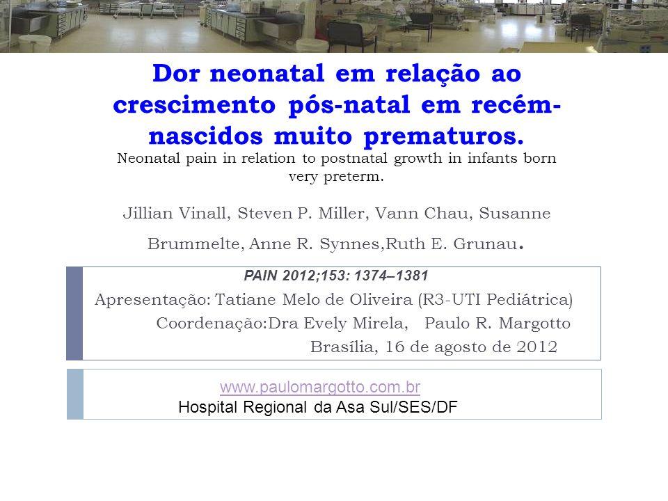 Dor neonatal em relação ao crescimento pós-natal em recém- nascidos muito prematuros. Apresentação: Tatiane Melo de Oliveira (R3-UTI Pediátrica) Coord