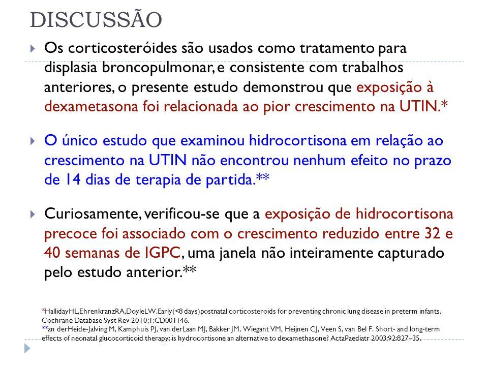 DISCUSSÃO Os corticosteróides são usados como tratamento para displasia broncopulmonar, e consistente com trabalhos anteriores, o presente estudo demo