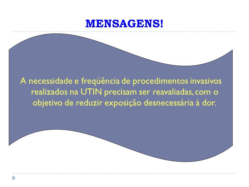 A necessidade e freqüência de procedimentos invasivos realizados na UTIN precisam ser reavaliadas, com o objetivo de reduzir exposição desnecessária à