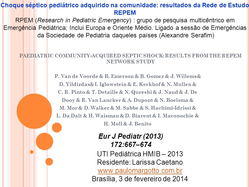 PAEDIATRIC COMMUNITY-ACQUIRED SEPTIC SHOCK: RESULTS FROM THE REPEM NETWORK STUDY P.