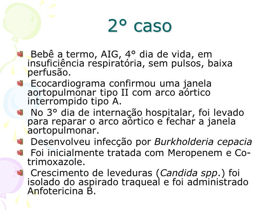 2° caso Bebê a termo, AIG, 4° dia de vida, em insuficiência respiratória, sem pulsos, baixa perfusão. Ecocardiograma confirmou uma janela aortopulmona