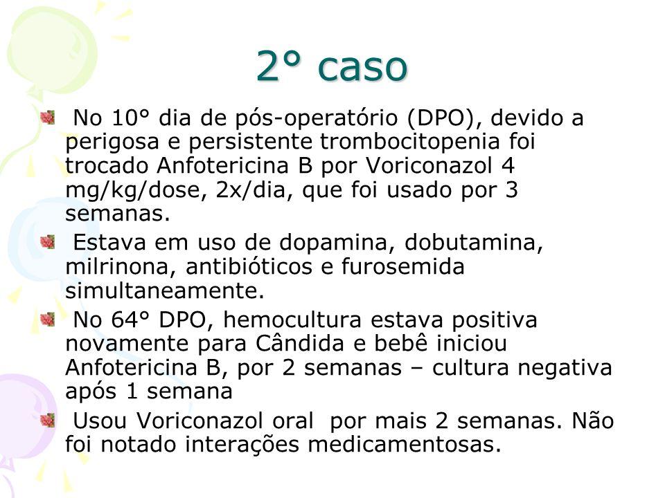 2° caso No 10° dia de pós-operatório (DPO), devido a perigosa e persistente trombocitopenia foi trocado Anfotericina B por Voriconazol 4 mg/kg/dose, 2