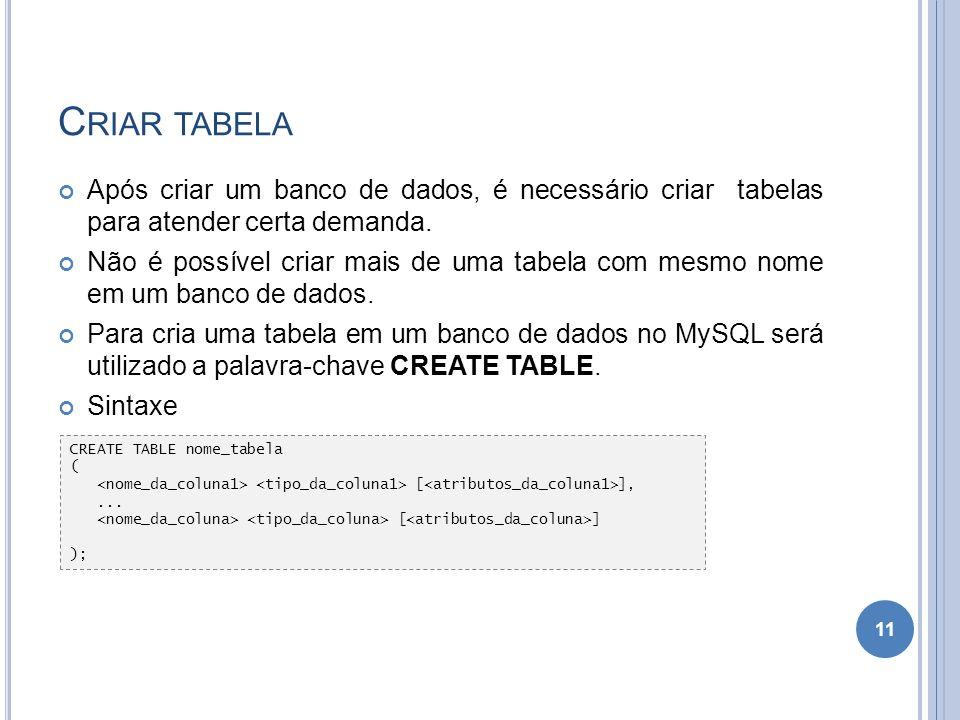 C RIAR TABELA Após criar um banco de dados, é necessário criar tabelas para atender certa demanda. Não é possível criar mais de uma tabela com mesmo n