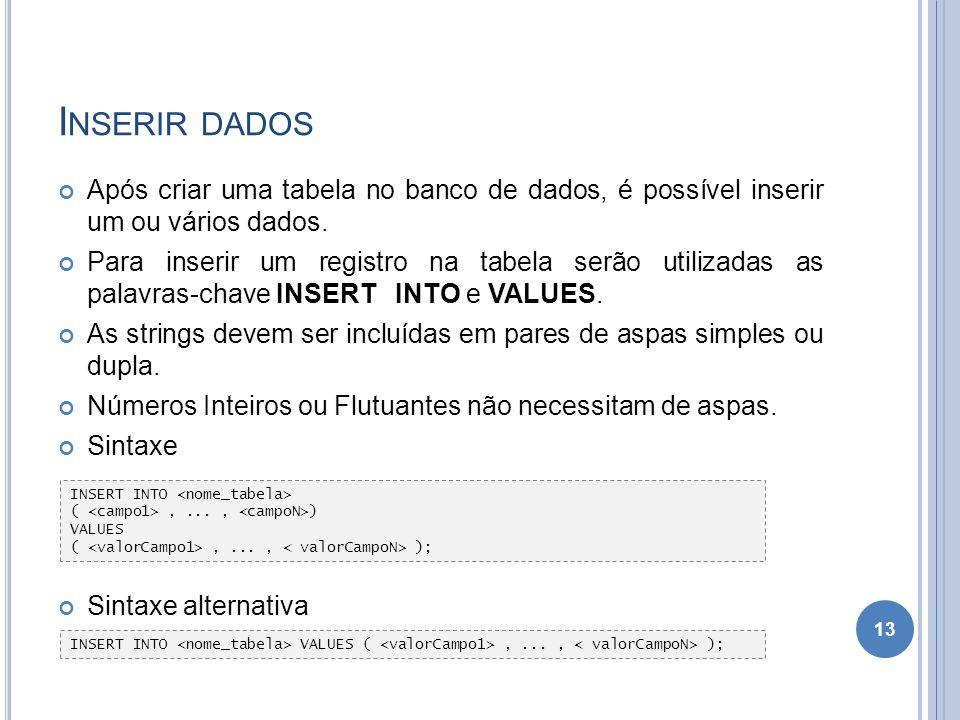 I NSERIR DADOS Após criar uma tabela no banco de dados, é possível inserir um ou vários dados. Para inserir um registro na tabela serão utilizadas as