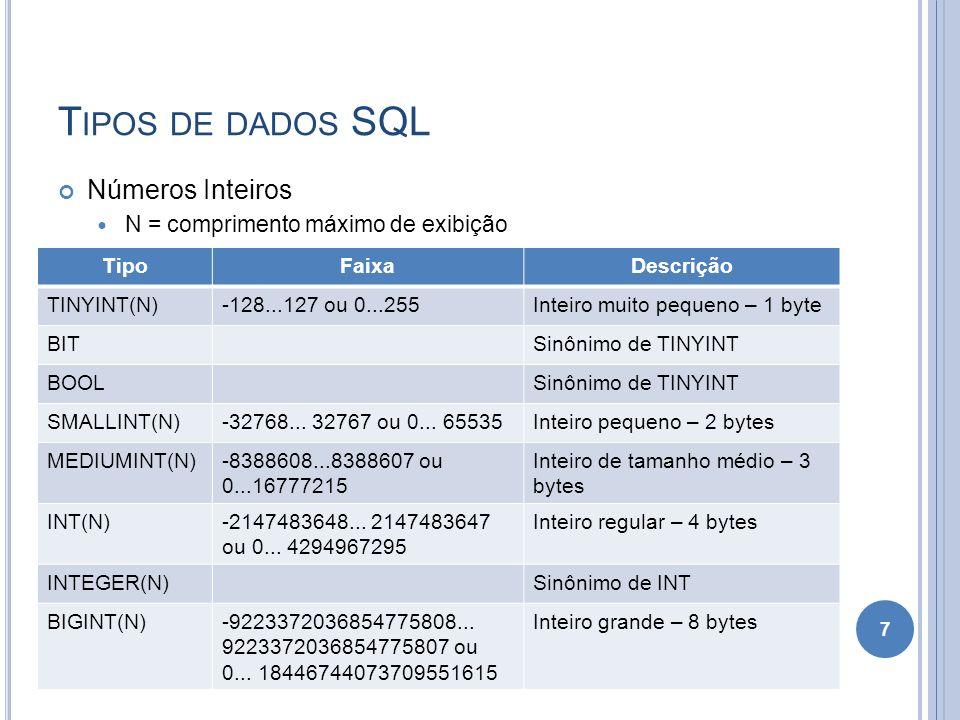 T IPOS DE DADOS SQL Números Inteiros N = comprimento máximo de exibição 7 TipoFaixaDescrição TINYINT(N)-128...127 ou 0...255Inteiro muito pequeno – 1