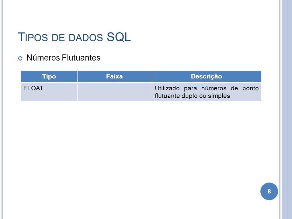 T IPOS DE DADOS SQL Números Flutuantes 8 TipoFaixaDescrição FLOATUtilizado para números de ponto flutuante duplo ou simples