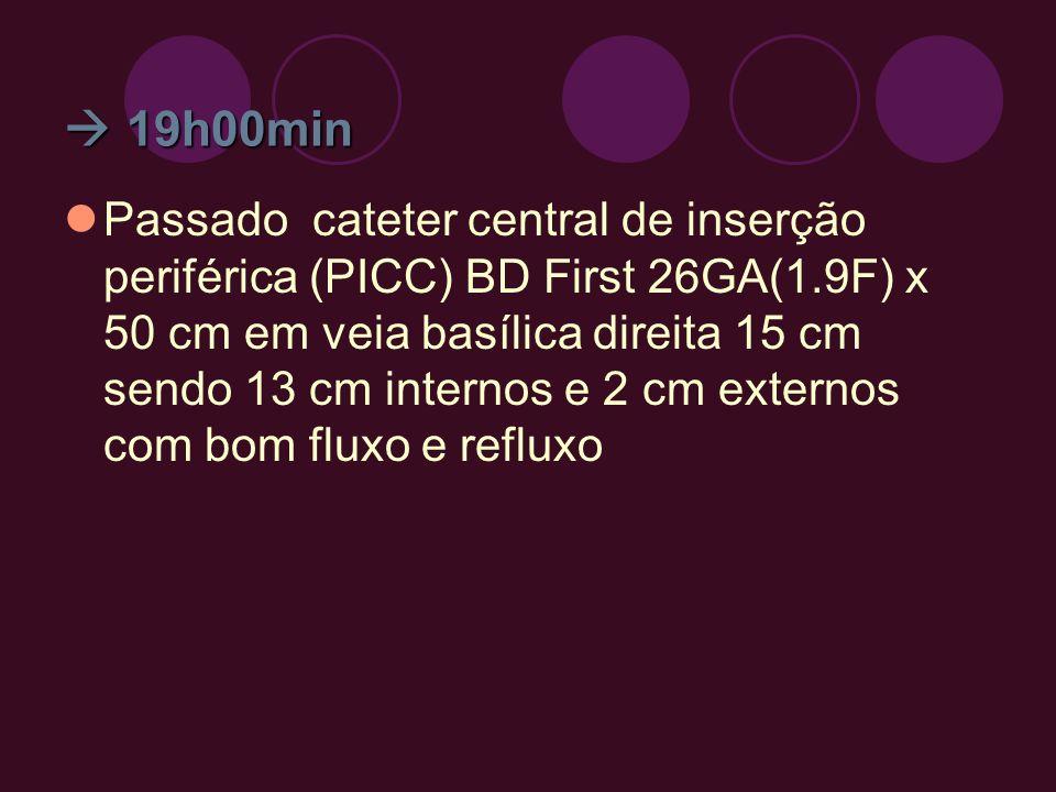 19h00min 19h00min Passado cateter central de inserção periférica (PICC) BD First 26GA(1.9F) x 50 cm em veia basílica direita 15 cm sendo 13 cm interno