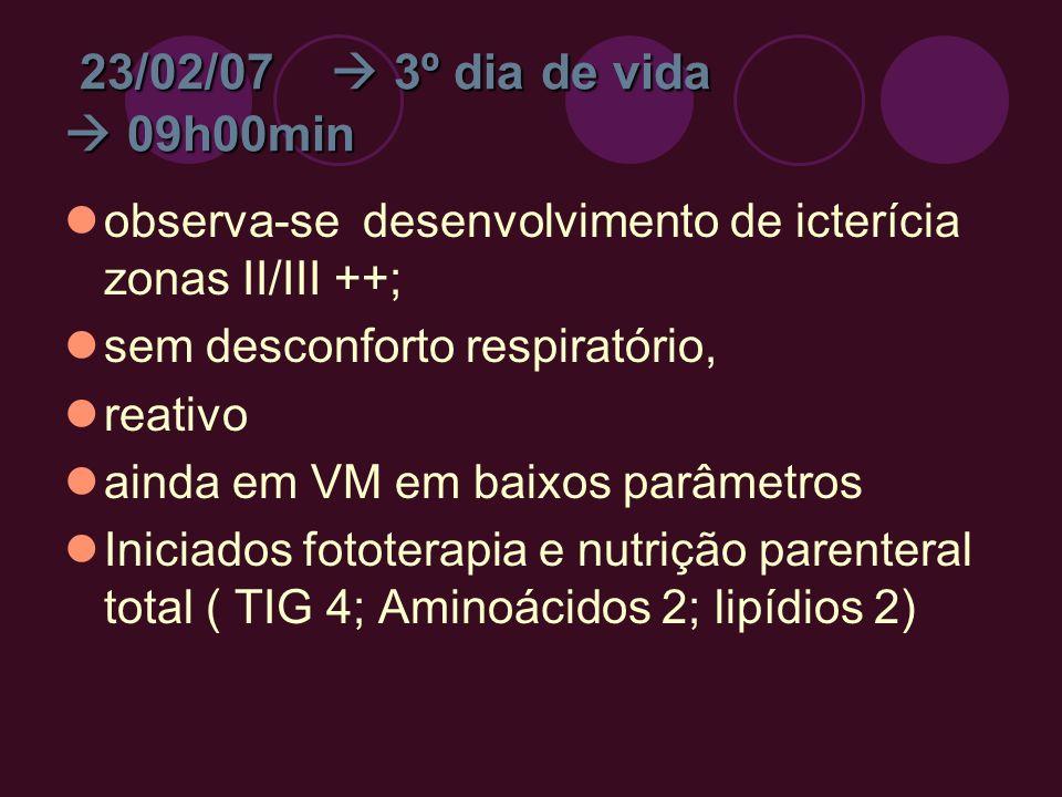 23/02/07 3º dia de vida 09h00min observa-se desenvolvimento de icterícia zonas II/III ++; sem desconforto respiratório, reativo ainda em VM em baixos