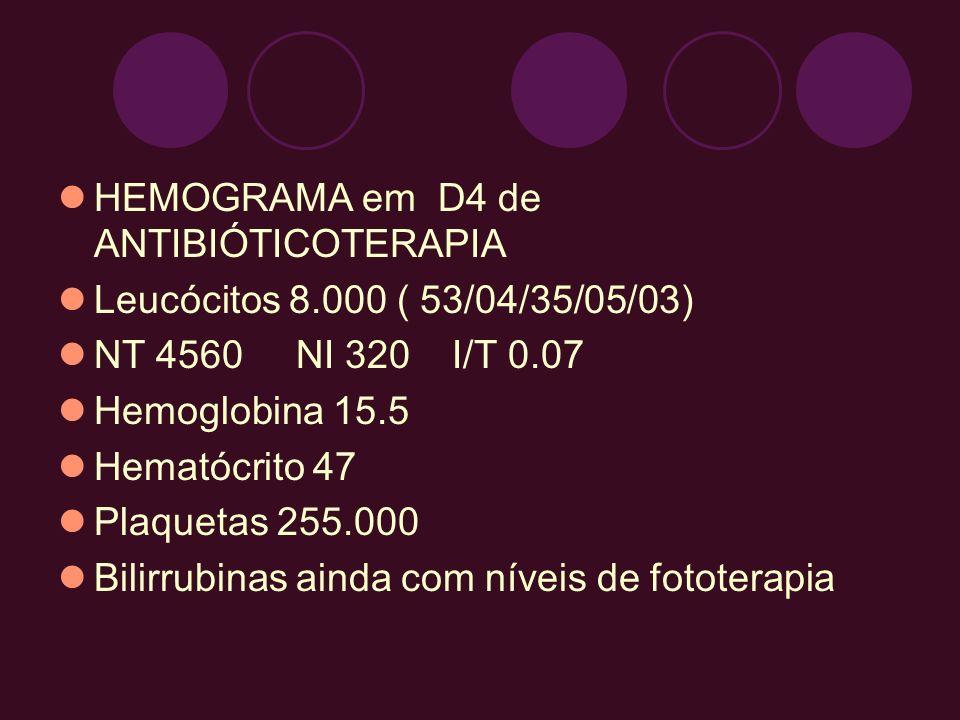 HEMOGRAMA em D4 de ANTIBIÓTICOTERAPIA Leucócitos 8.000 ( 53/04/35/05/03) NT 4560 NI 320 I/T 0.07 Hemoglobina 15.5 Hematócrito 47 Plaquetas 255.000 Bil