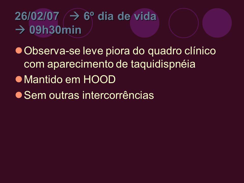 26/02/07 6º dia de vida 09h30min Observa-se leve piora do quadro clínico com aparecimento de taquidispnéia Mantido em HOOD Sem outras intercorrências