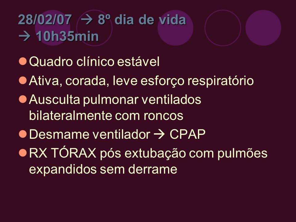 28/02/07 8º dia de vida 10h35min Quadro clínico estável Ativa, corada, leve esforço respiratório Ausculta pulmonar ventilados bilateralmente com ronco