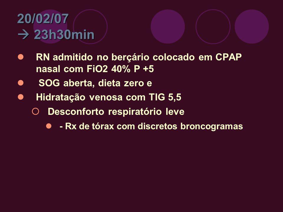 20/02/07 23h30min RN admitido no berçário colocado em CPAP nasal com FiO2 40% P +5 SOG aberta, dieta zero e Hidratação venosa com TIG 5,5 Desconforto