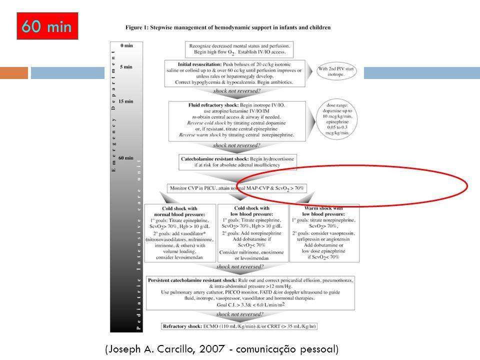 60 min (Joseph A. Carcillo, 2007 - comunicação pessoal)