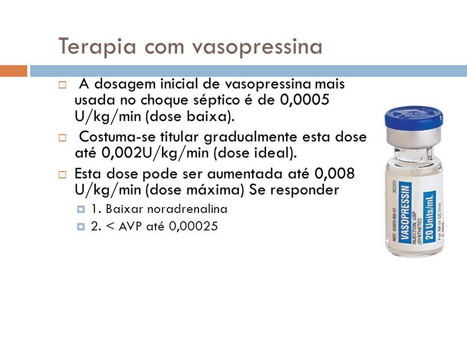 Terapia com vasopressina A dosagem inicial de vasopressina mais usada no choque séptico é de 0,0005 U/kg/min (dose baixa).