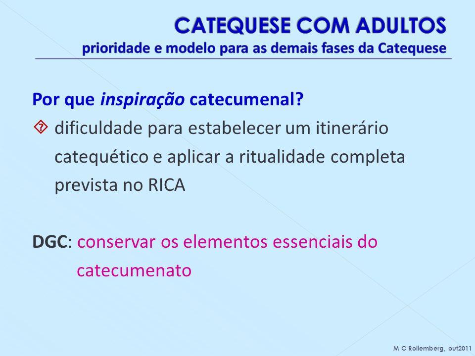 Por que inspiração catecumenal? dificuldade para estabelecer um itinerário catequético e aplicar a ritualidade completa prevista no RICA DGC: conserva