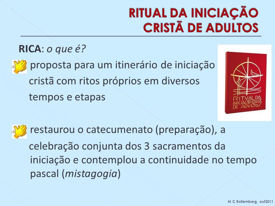 RICA: o que é? - proposta para um itinerário de iniciação cristã com ritos próprios em diversos tempos e etapas restaurou o catecumenato (preparação),
