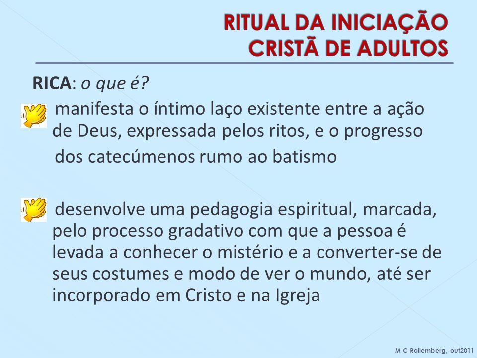 RICA: o que é? manifesta o íntimo laço existente entre a ação de Deus, expressada pelos ritos, e o progresso dos catecúmenos rumo ao batismo desenvolv