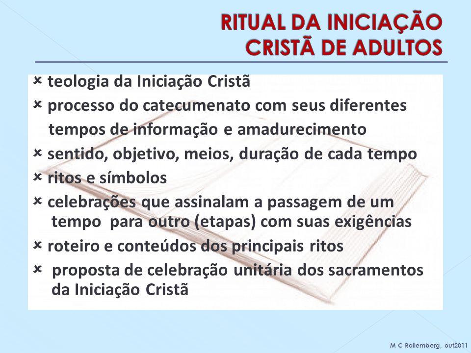 teologia da Iniciação Cristã processo do catecumenato com seus diferentes tempos de informação e amadurecimento sentido, objetivo, meios, duração de c
