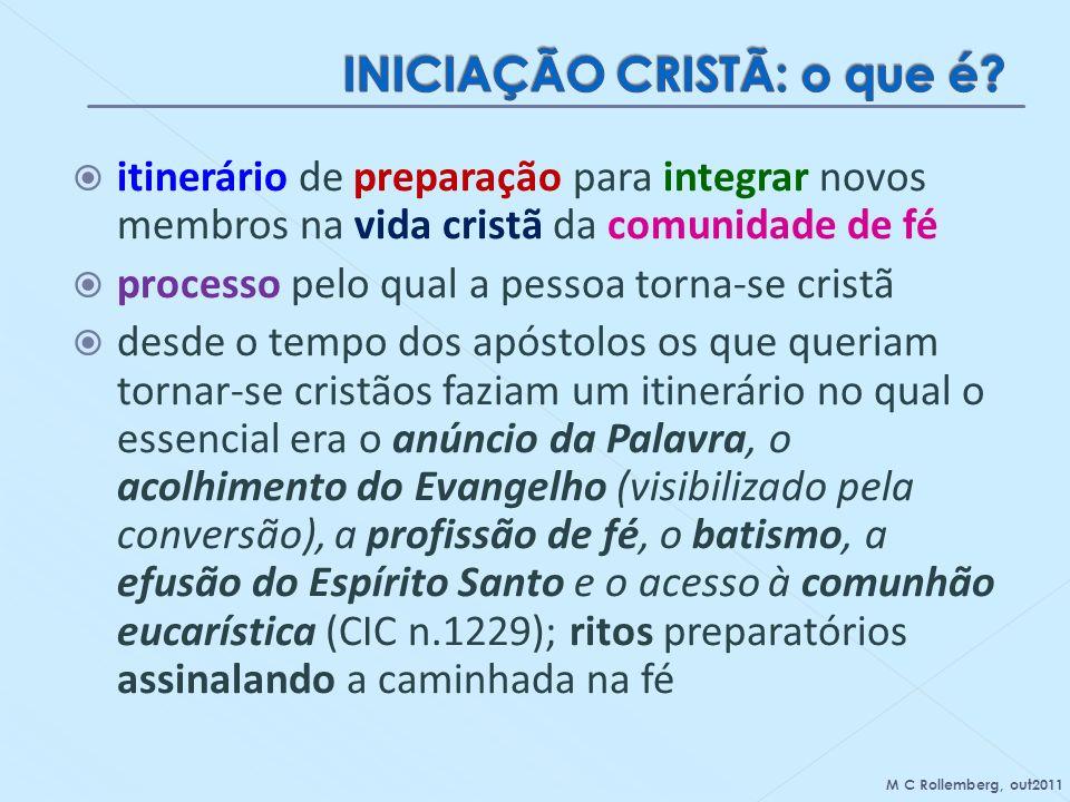 itinerário de preparação para integrar novos membros na vida cristã da comunidade de fé processo pelo qual a pessoa torna-se cristã desde o tempo dos
