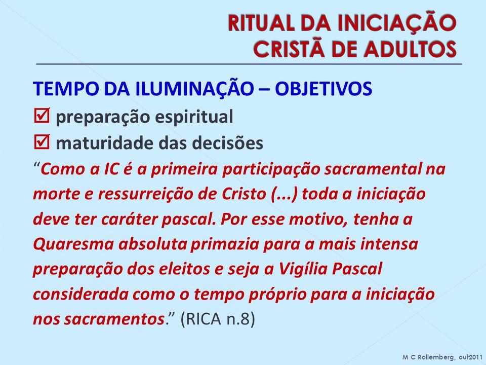 TEMPO DA ILUMINAÇÃO – OBJETIVOS preparação espiritual maturidade das decisões Como a IC é a primeira participação sacramental na morte e ressurreição