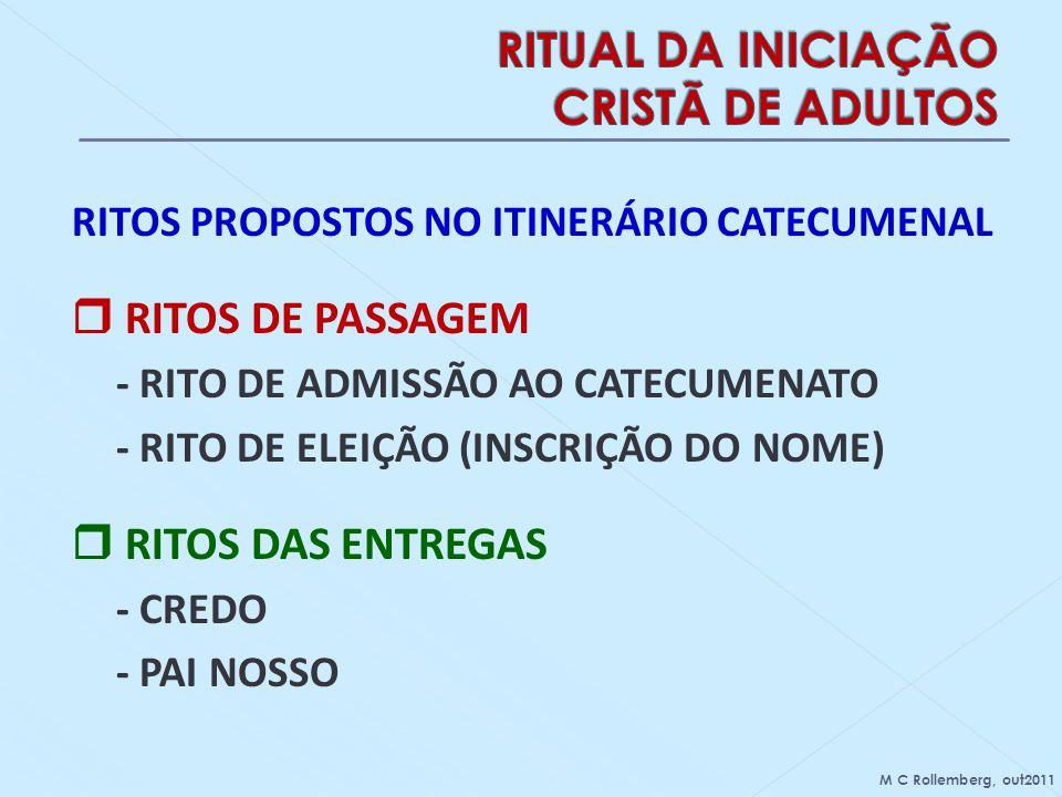 RITOS PROPOSTOS NO ITINERÁRIO CATECUMENAL RITOS DE PASSAGEM - RITO DE ADMISSÃO AO CATECUMENATO - RITO DE ELEIÇÃO (INSCRIÇÃO DO NOME) RITOS DAS ENTREGA