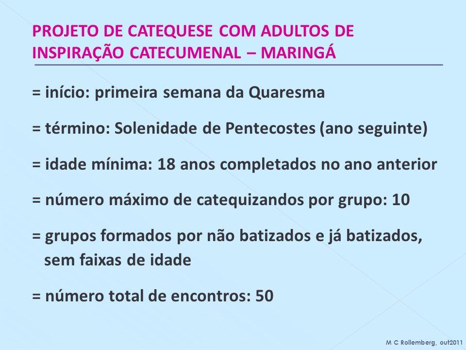 PROJETO DE CATEQUESE COM ADULTOS DE INSPIRAÇÃO CATECUMENAL – MARINGÁ = início: primeira semana da Quaresma = término: Solenidade de Pentecostes (ano s