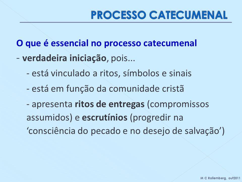O que é essencial no processo catecumenal - verdadeira iniciação, pois... - está vinculado a ritos, símbolos e sinais - está em função da comunidade c