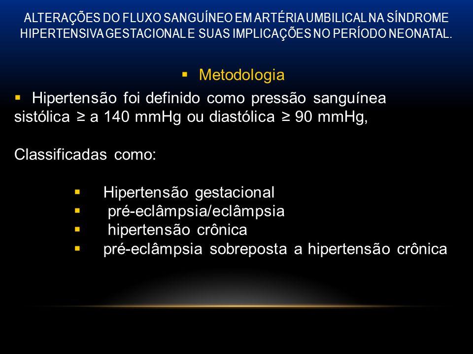 ALTERAÇÕES DO FLUXO SANGUÍNEO EM ARTÉRIA UMBILICAL NA SÍNDROME HIPERTENSIVA GESTACIONAL E SUAS IMPLICAÇÕES NO PERÍODO NEONATAL. Metodologia Hipertensã