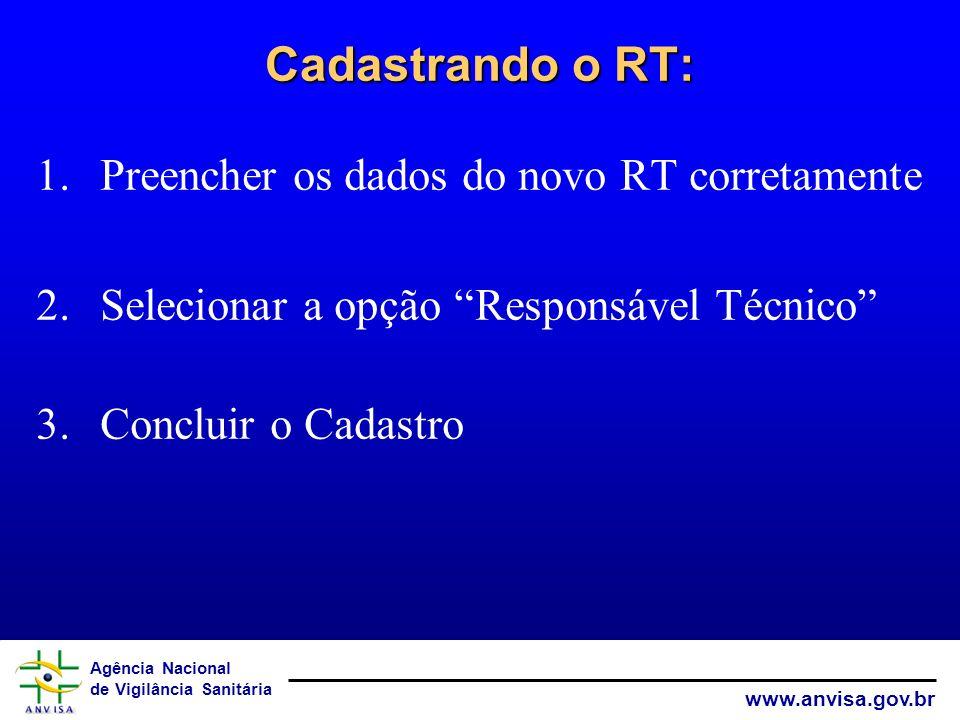 Agência Nacional de Vigilância Sanitária www.anvisa.gov.br Cadastrando o RT: 1.Preencher os dados do novo RT corretamente 2.Selecionar a opção Respons