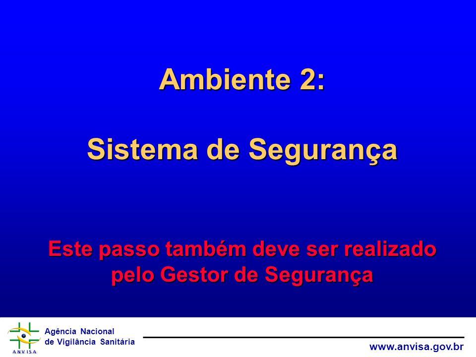 Agência Nacional de Vigilância Sanitária www.anvisa.gov.br Ambiente 2: Sistema de Segurança Este passo também deve ser realizado pelo Gestor de Segura