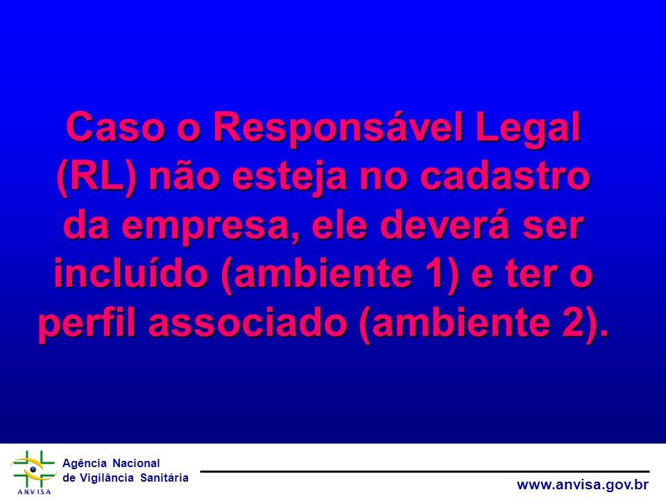 Agência Nacional de Vigilância Sanitária www.anvisa.gov.br Caso o Responsável Legal (RL) não esteja no cadastro da empresa, ele deverá ser incluído (a