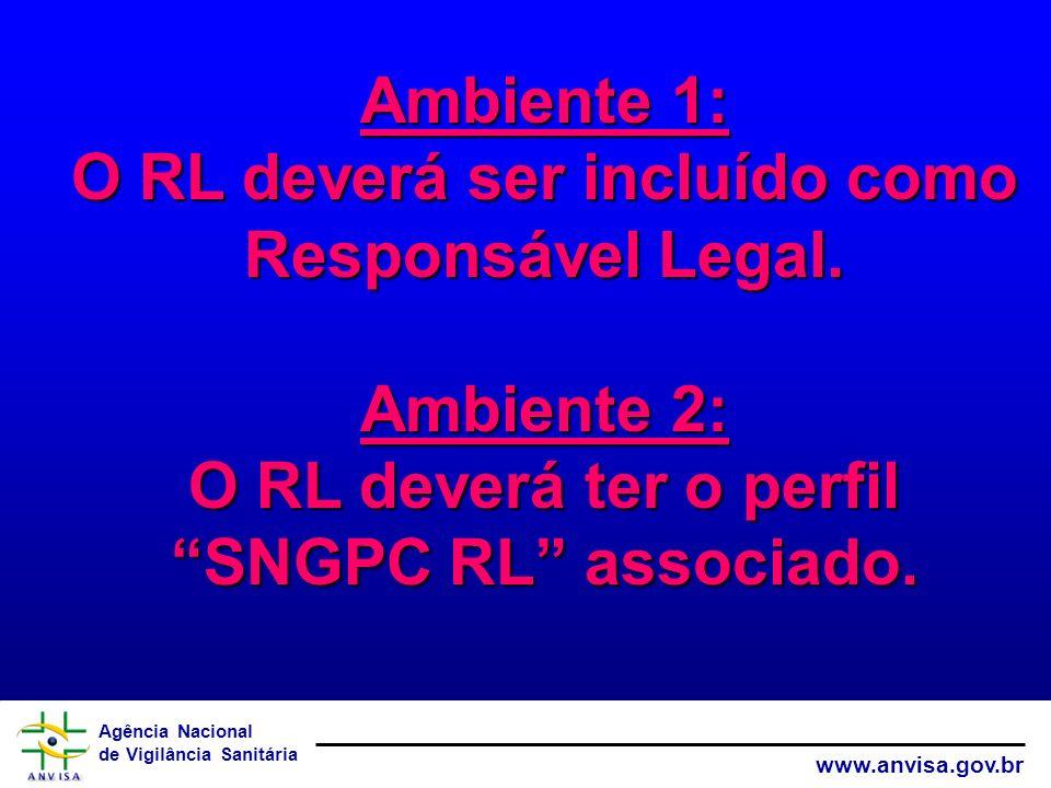 Agência Nacional de Vigilância Sanitária www.anvisa.gov.br Ambiente 1: O RL deverá ser incluído como Responsável Legal. Ambiente 2: O RL deverá ter o