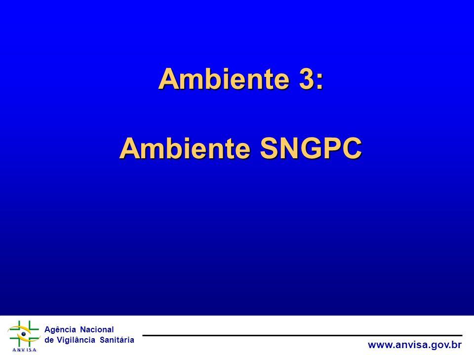 Agência Nacional de Vigilância Sanitária www.anvisa.gov.br Ambiente 3: Ambiente SNGPC