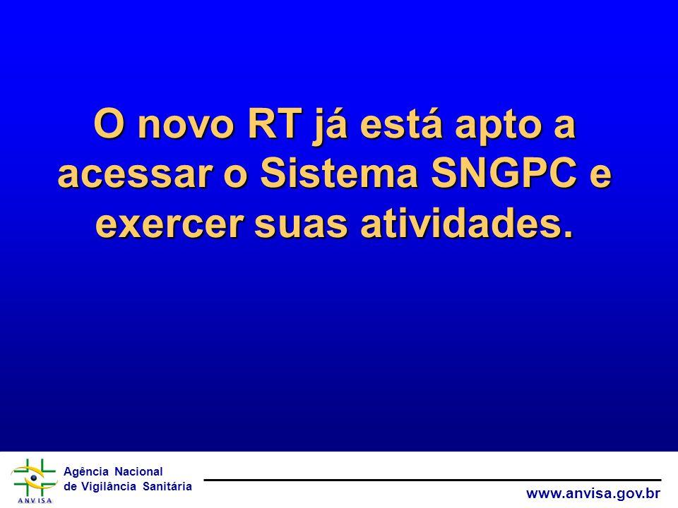 Agência Nacional de Vigilância Sanitária www.anvisa.gov.br O novo RT já está apto a acessar o Sistema SNGPC e exercer suas atividades.