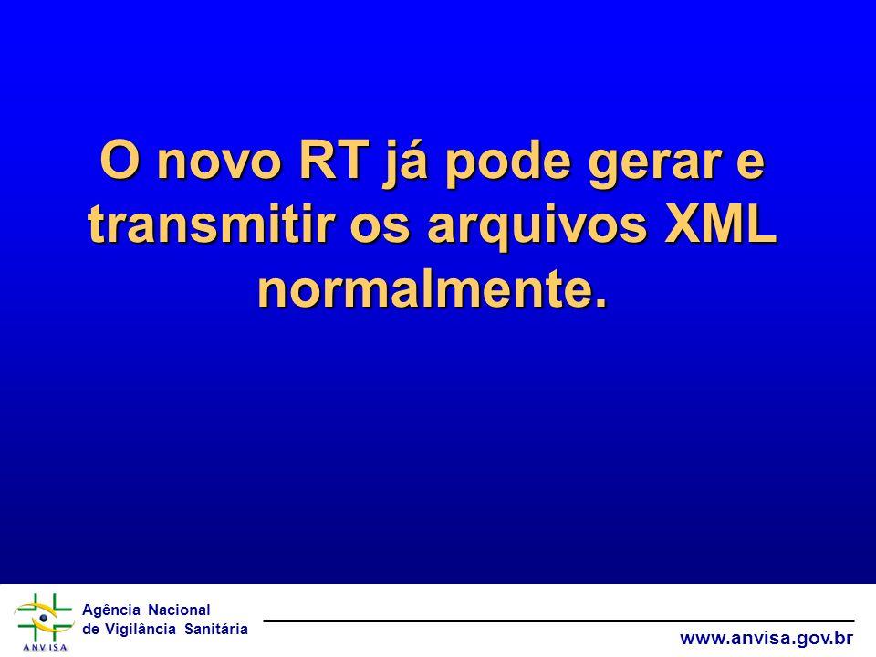 Agência Nacional de Vigilância Sanitária www.anvisa.gov.br O novo RT já pode gerar e transmitir os arquivos XML normalmente.