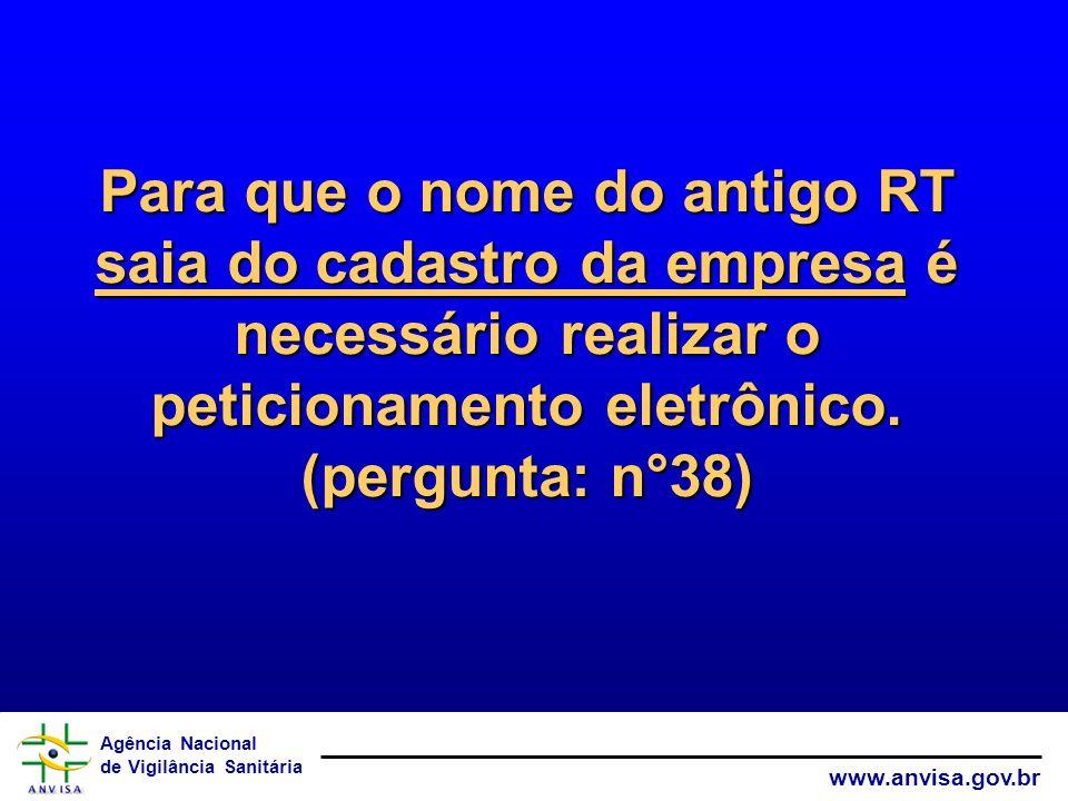 Agência Nacional de Vigilância Sanitária www.anvisa.gov.br Para que o nome do antigo RT saia do cadastro da empresa é necessário realizar o peticionam