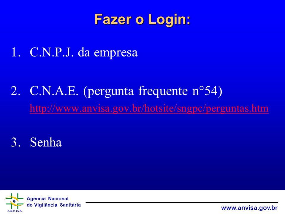 Agência Nacional de Vigilância Sanitária www.anvisa.gov.br Fazer o Login: 1.C.N.P.J. da empresa 2.C.N.A.E. (pergunta frequente n°54) http://www.anvisa
