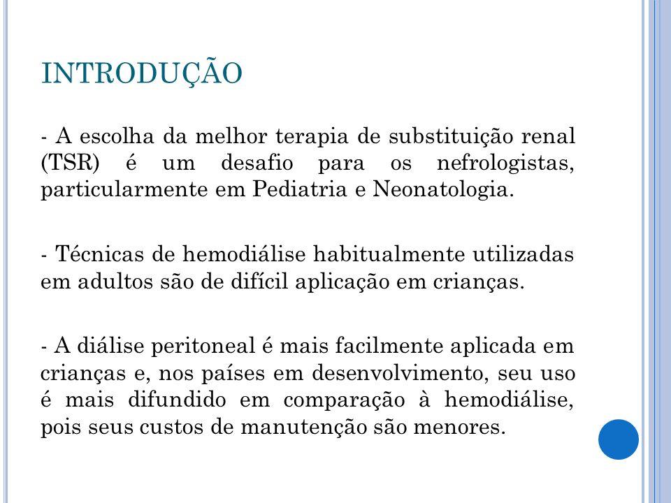 - Utiliza-se habitualmente o tempo de 14 a 21 dias entre a inserção do cateter de Tenckhoff e o início da diálise peritoneal.