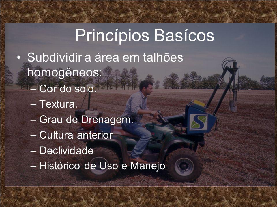 Princípios Basícos Subdividir a área em talhões homogêneos: –Cor do solo. –Textura. –Grau de Drenagem. –Cultura anterior –Declividade –Histórico de Us