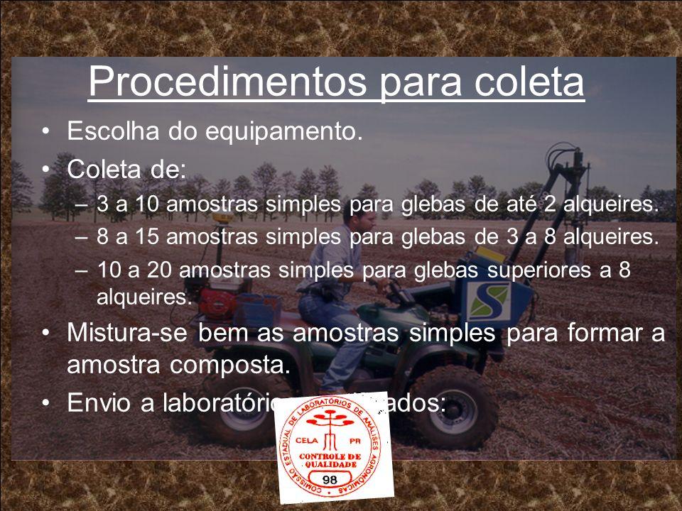 Procedimentos para coleta Escolha do equipamento. Coleta de: –3 a 10 amostras simples para glebas de até 2 alqueires. –8 a 15 amostras simples para gl