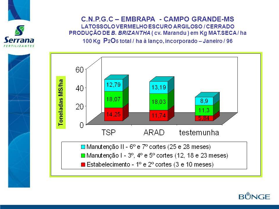 C.N.P.G.C – EMBRAPA - CAMPO GRANDE-MS LATOSSOLO VERMELHO ESCURO ARGILOSO / CERRADO PRODUÇÃO DE B. BRIZANTHA ( cv. Marandu ) em Kg MAT.SECA / ha 100 Kg