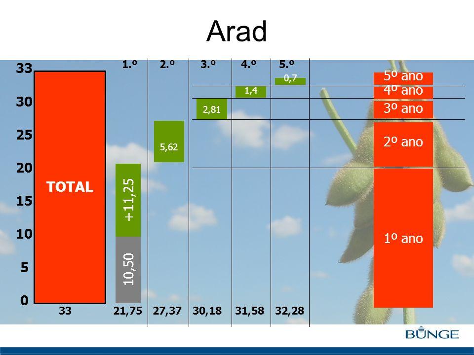 Clique para editar o estilo do título mestre Arad TOTAL 33 30 25 20 15 10 5 0 10,50 +11,25 33 21,75 27,37 30,18 31,58 32,28 2,81 1,4 5,62 0,7 1º ano 2
