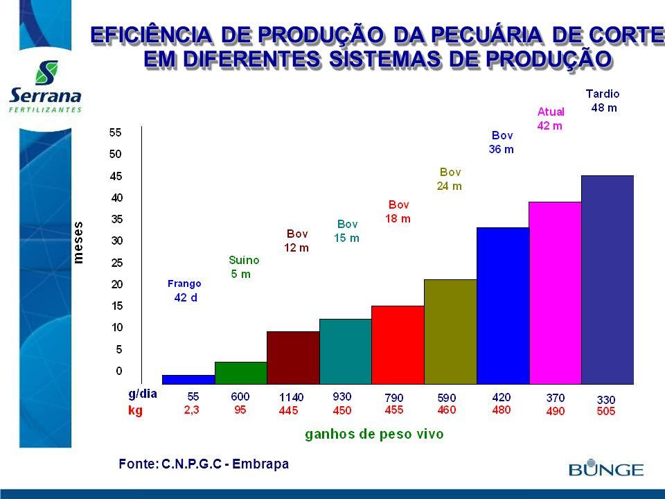 EFICIÊNCIA DE PRODUÇÃO DA PECUÁRIA DE CORTE EM DIFERENTES SISTEMAS DE PRODUÇÃO Fonte: C.N.P.G.C - Embrapa