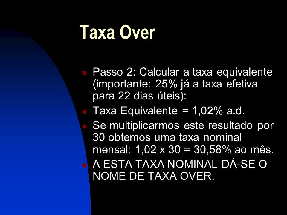 Taxa Over Passo 2: Calcular a taxa equivalente (importante: 25% já a taxa efetiva para 22 dias úteis): Taxa Equivalente = 1,02% a.d.