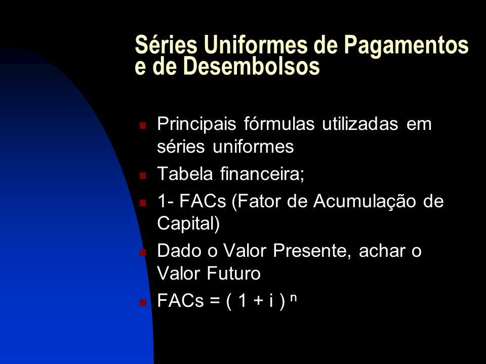 Séries Uniformes de Pagamentos e de Desembolsos Principais fórmulas utilizadas em séries uniformes Tabela financeira; 1- FACs (Fator de Acumulação de Capital) Dado o Valor Presente, achar o Valor Futuro FACs = ( 1 + i ) n