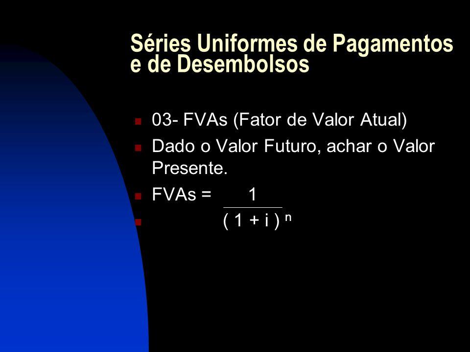 Séries Uniformes de Pagamentos e de Desembolsos 03- FVAs (Fator de Valor Atual) Dado o Valor Futuro, achar o Valor Presente.